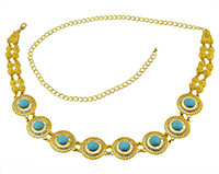 N-7047 Indian Style 14K Gold Plated Metal Crystal Flower Turquoise Belly Chains Dancing Summer Beach Sexy Body Jewelry