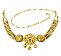N-7047-D Indian Style 14K Gold Plated Metal Crystal Flower Turquoise Belly Chains Dancing Summer Beach Sexy Body Jewelry