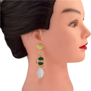 E-4558 Trendy Designed  Irregular Frame Gold-Plated Dangle Earrings