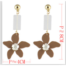E-4559 3 Colors Trendy Acrylic Flower Shaped Stud Earrings for Women Bridal Party Jewelry Gift