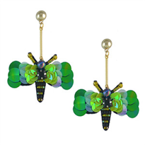 E-4562 Trendy Gold Plated Beaded Change Color Sequins Bee Dangle Earrings