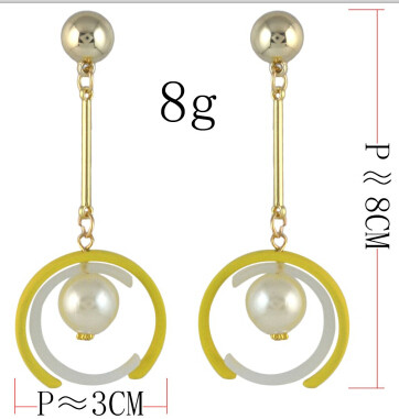 E-4563 3 Colors Fashion Gold Metal Pearl Long Drop Earrings for Women Bridal Wedding Party Jewelry