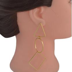 E-4566 2 Colors Fashion Gold Silver Metal Geometric Long Drop Earrings for Women Bridal Wedding Party Jewelry