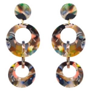 E-4569 4 Colors Fashion Geometric Circles Rounds Long Drop Earrings for Women Bridal Wedding Party Jewelry