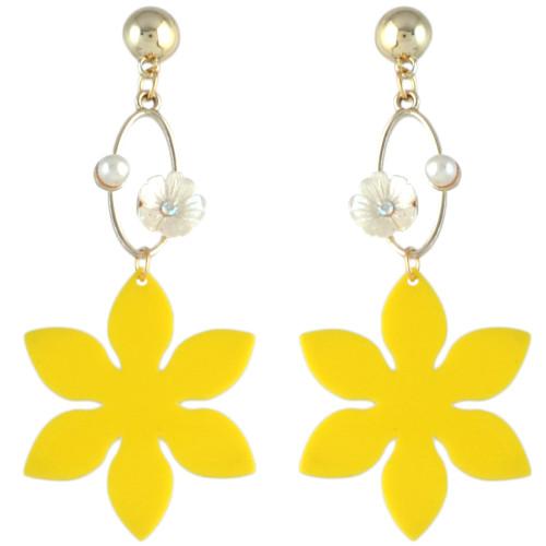 E-4567 Fashion Flower Pearl Long Drop Dangle Earrings for Women Wedding Bridal Ear Jewelry
