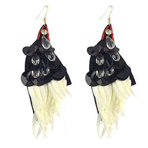 E-4565 Fashion Handmade Black Sequins Drop Beaded Big Drop Earrings