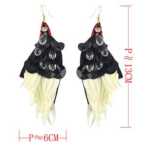 E-4565 Fashion Handmade Black Sequins Drop Beaded Big Drop Earrings