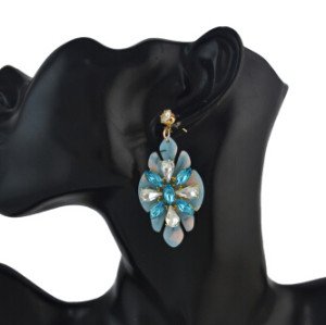E-4570 Trendy Women Flower Shape Acrylic Crystal Statement Earrings Party Jewelry Gift