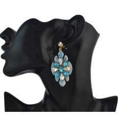 E-4570 Trendy Women Flower Shape Acrylic Crystal Statement Earrings Party Jewelry Gift