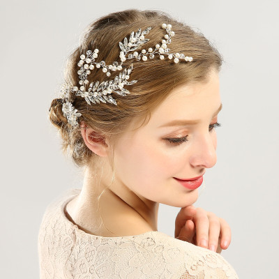 F-0478 Luxury Fashion  Flowers Rhinestone Crystal Pearl Beads  Hairband Bridal Wedding Women Hair Accessories Jewelry