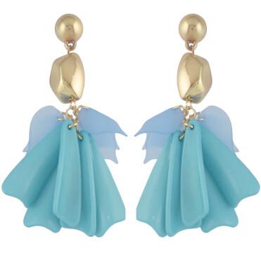 E-4571 Fashion Acrylic Flower Long Drop Dangle Earrings for Women Wedding Bridal Ear Jewelry