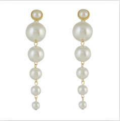 E-4574 Trendy  Gold Metal Peals Beads  Dangle Drop Earrings For Women Party Jewelry
