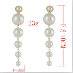 E-4574 Trendy  Gold Metal Peals Beads  Dangle Drop Earrings For Women Party Jewelry