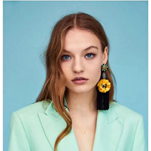 E-4575 Trendy Rhinestone Ball Flower Long Thread Tassel Earrings