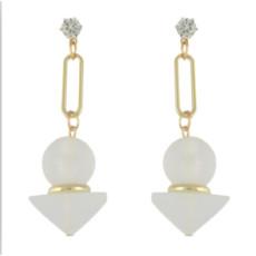 E-4577 Cute Women's Drop Earrings Round Triangular Crystal  Rhinestone Wedding Bridal Bling Long Dangle Earring