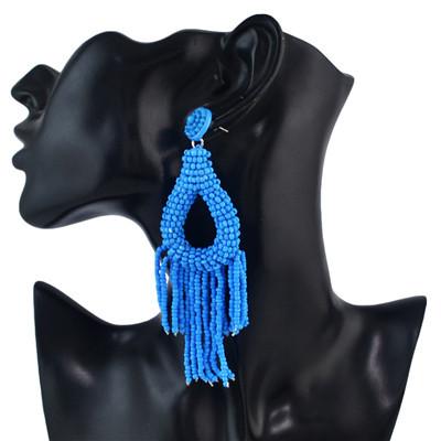 E-4582 7 Colors Trendy Small  Beads Bunch Round Tassel Women Earring