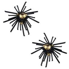 E-4578 Fashion Handmade Stud Earrings Black Beads Champagne Crystal Earring Bridal Bridemaid for Wedding