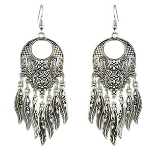 E-4579 Bohemian Retro Silver Alloy Carving Flower Leaf Tassel Drop Dangle Earrings