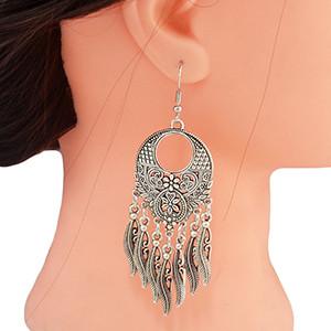 E-4579 Bohemian Retro Silver Alloy Carving Flower Leaf Tassel Drop Dangle Earrings