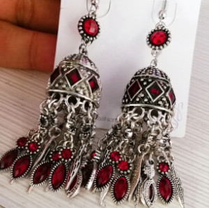 E-4580 Vintage Silver Metal Rhinestone Statement Long Drop Earrings for Women Bohemian Party Jewelry Gift