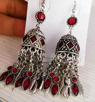 E-4580 Vintage Silver Metal Rhinestone Statement Long Drop Earrings for Women Bohemian Party Jewelry Gift