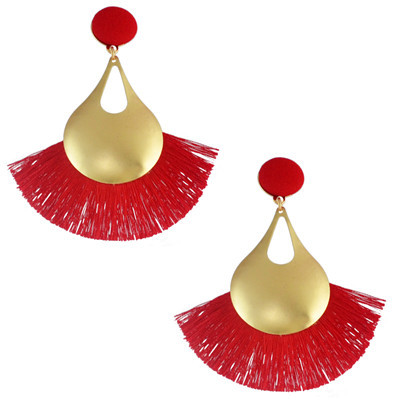 E-4583 7 Colors Trendy Design Gold-Plated Women Tassel Earrings Party Jewelry