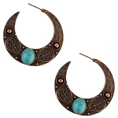 E-4591 Vintage Style Copper Tone Simple Carving Flower Earrings Women Jewelry