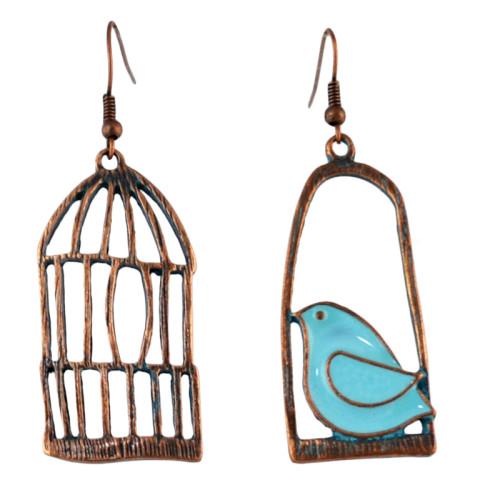 E-4592 Vintage Patina Bird Birdcage Branch Crystal Thread Tassel Fashion Ear Hook Earring for Women