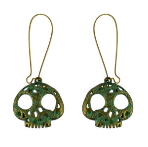 E-4585 Retro Bronze Skull Drop Dangle Earrings  Party Jewelry