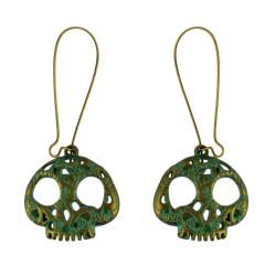 E-4585 Retro Bronze Skull Drop Dangle Earrings  Party Jewelry
