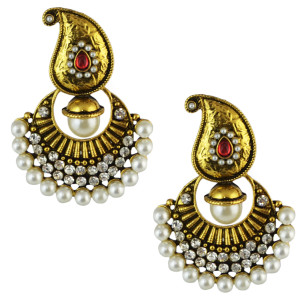 E-4586 Fashion Bohemian Gold Plated Alloy Crystal Rhinestone Pearl Drop Dangle Earrings