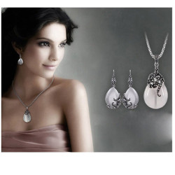 N-7111  E-0270 New Hot Rhinestone Cat Eyes Gemstone Drop Dangle Earrings Necklace Jewelry Set