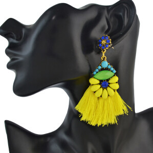 E-4595 Trendy Rhinestone Flower Long Thread Tassel Earrings For Women Bridal Jewelry