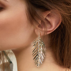 E-4593 Fashion Creative Metal Leaf Stud Earrings