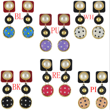 E-4596 Fashion Acrylic Cloth Ball Pearl Drop Earrings for Women Ladies Statement Party Jewelry