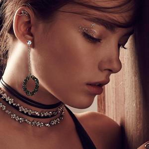 E-4599  Fashion Silver Alloy Rhinestone Dangle Women Earrings Party Jewelry