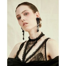 E-4557 Elegant Long Drop Earrings Glass Tube Tassels Beaded Flower Stud Ear Jewelry Wedding Party Dress Accessories