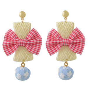 E-4415 New Fashion Gold Plated Alloy cloth bowknot Plush ball pendant Earrings