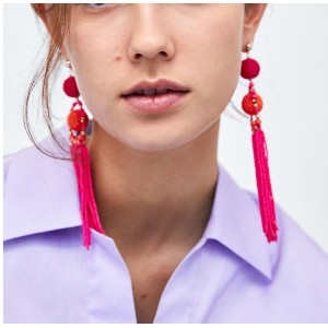 E-4355 6 Colors Fashion Bead Tassel Bohmian Earring for Women Jewelry