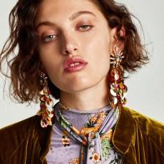 E-4327 7 Colors Sequins Long Earrings Fashion Rhinestone Statement Jewelry Tassel Earrings for Women Wedding Accessories