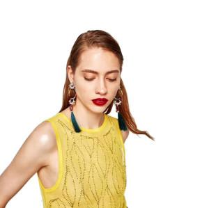 E-4324 Fashion Gold Plated Crystal Flower Enamel Hoop Silk Thread Tassel Big Earrings Women Jewelry