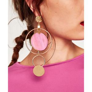 E-4259 4 Colors Stud Charm Pendant Round Dangle Charm Earring for Women Fashion Jewelry