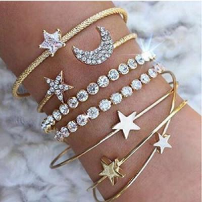 B-0890 4pcs/set  Gold Silver Plated Rhinestone Moon Star Cuff Bracelets Set