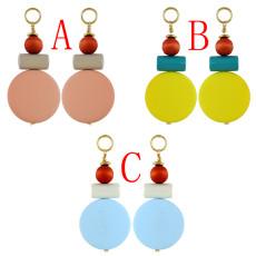 E-4608 Bohemian Resin Round Wood Bead Statement Earring Ear Stud for Fashion Women