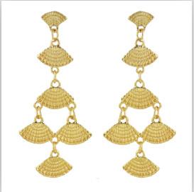 E-4606 2 Colors New Fashion Silver Gold Metal  Shell Shape Drop Dangle Earrings Women Fashion Jewelry