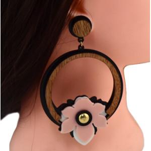 E-4603 Bohemian Resin Wooden Big Circle Statement Earring Earrings Stud for Fashion Women