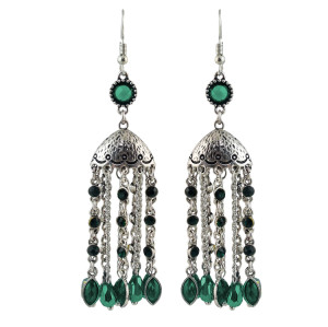E-4614 Bohemian Long Tassel Drop Dangle Earrings Statement Earring Fish Hook Earring