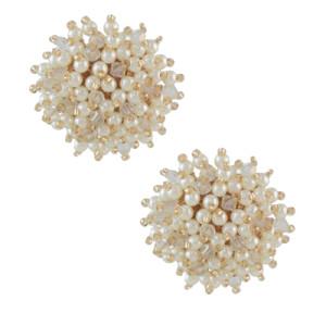 E-4611 Trendy Design Small Pearl Flower Type Elegant Women Ear Studs