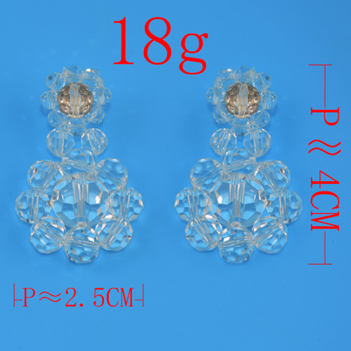 E-4610 Hot transparent crystal fashion round earring ear stud for women