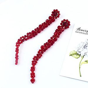 E-4612 Handmade Red Beaded Weaved Flower Long Drop Dangle Earrings